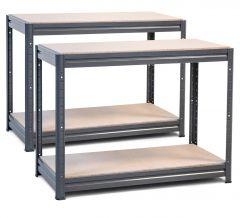 2x Storalex HRX Workbenches - Chipboard - 600kg - Grey A