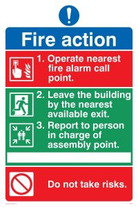 Pictorial Fire Action - Mandatory Sign