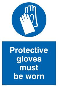 Protective Gloves Must Be Worn - Mandatory Sign