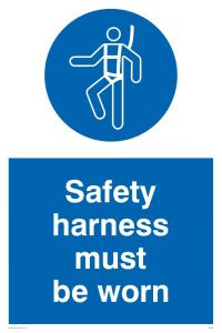 Safety Harness Must Be Worn - Mandatory Sign