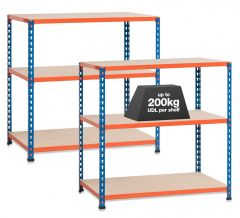 2x SX200 Workbenches - 200kg - Blue/Orange - Chipboard