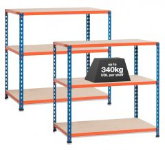2x SX340 Workbenches - 340kg - Blue/Orange - Chipboard