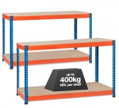 2x SX400 Workbenches - 400kg - Blue/Orange - Chipboard