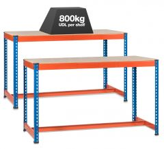 2x SX800 Workbenches - 800kg - Blue/Orange - Chipboard