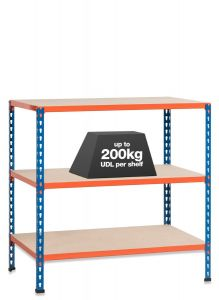1x SX200 Workbenches - 200kg - Blue/Orange - Chipboard