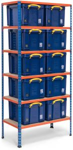 Storalex SX200 Shelving 200kg - with 10x 35L Blue Really Useful Boxes