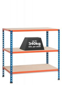 1x SX340 Workbenches - 340kg - Blue/Orange - Chipboard