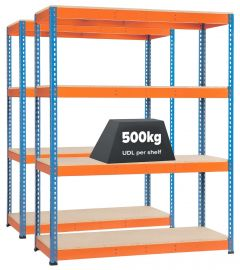 2x Storalex SX400 Industrial Shelving 1677mm 400kg Chipboard Blue/Orange