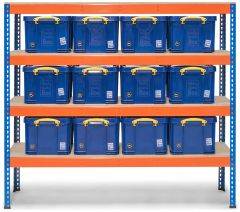 Storalex SX400 Shelving 400kg - Blue/Orange with Really Useful Boxes - Blue