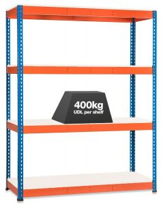 1x Storalex SX400 Industrial Shelving - 1980mm - 400kg Blue/Orange - Melamine