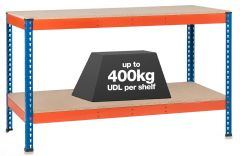1x SX400 Workbenches - 400kg - Blue/Orange - Chipboard