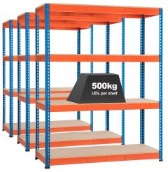 3x Storalex SX400 Industrial Shelving - 2440mm - 400kg Blue/Orange - Chipboard