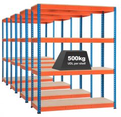 4x Storalex SX400 Industrial Shelving - 2440mm - 400kg Blue/Orange - Chipboard