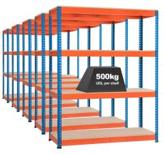 5x Storalex SX400 Industrial Shelving - 1980mm - 400kg Blue/Orange - Chipboard