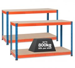 2x SX800 Workbenches - 800kg - Chipboard - Blue/Orange A