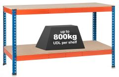 1x SX800 Workbenches - 800kg - Blue/Orange - Chipboard