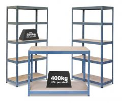 Business Bundle - 2x VRS Shelving Units - 280kg & Workbench - Grey