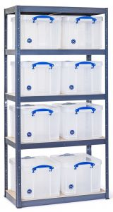 Storalex VRS Shelving - Grey with Really Useful Boxes