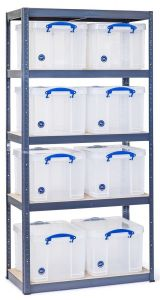 Storalex VRS Shelving - 325kg - Grey with Clear Really Useful Boxes