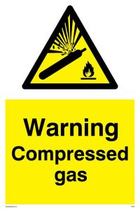 Warning Compressed Gas - Warning Sign
