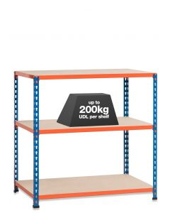 1x SX200 Workbenches - 200kg - Chipboard - Blue/Orange