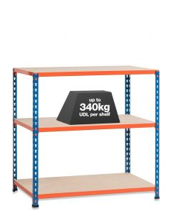 1x SX340 Workbenches - 340kg - Chipboard - Blue/Orange