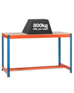 1x SX800 T-Bar Workbenches - 800kg - Chipboard - Blue/Orange