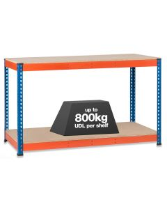 1x SX800 Workbenches - 800kg - Chipboard - Blue/Orange