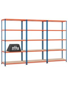 3 X STORALEX SX200 BAYS -  2.44M HIGH - (3 WIDTHS & DEPTHS) - 200KG UDL - 4/5/6 LEVELS