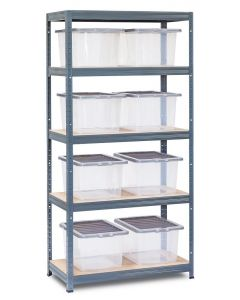 Storalex VRS Shelving - Grey with Clear Wham Plastic Storage Boxes