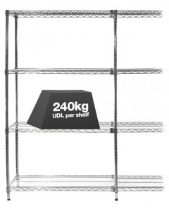 1x Eclipse Chrome Wire Shelving - 1625mm (Extension Bay) - 240kg