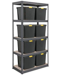 Heavy Duty Storalex VRS Bay - 1800h x 900w x 450d - 265KG UDL with 8 x 37L DIY Black Plastic Boxes
