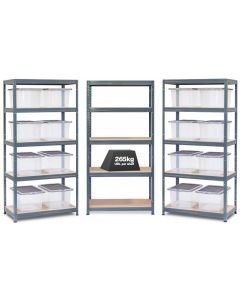 3x Storalex VRS Shelving - Grey with 35L Wham Plastic Storage Boxes