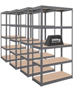 4x Storalex VRS Heavy Duty Industrial Shelving - 280kg - Grey