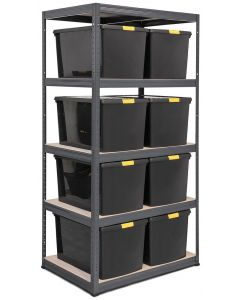 Storalex VRS Shelving - Grey with DIY Recycled Plastic Boxes with Clip Lids