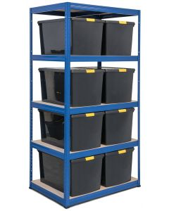 Storalex VRS Shelving - Blue with DIY Recycled Plastic Boxes with Clip Lids