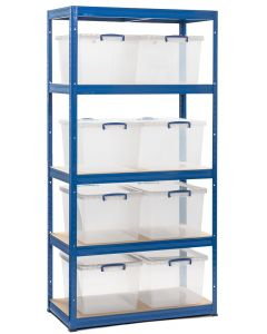 Storalex VRS Bay - (2 WIDTHS) - 450D - 265KG UDL -  OCEAN BLUE - with 33.5L Stackable Really Useful Boxes