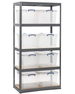 Storalex VRS Bay - (2 WIDTHS) - 450D - 265KG UDL -  GRAPHITE GREY - with 33.5L Stackable Really Useful Boxes