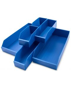 K-Bins Flat Pack Corrugated Plastic Parts Bins Blue