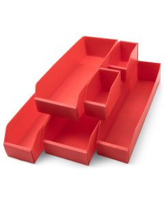 K-Bins Flat Pack Corrugated Plastic Parts Bins Red