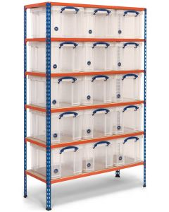 Storalex SX200 Bay - 1830h x 1220w x 455d - 140kg UDL - Blue & Orange - with 15 x 35L Clear Really Useful Boxes