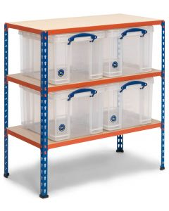 Storalex SX340 Workbench 915h x 915w x 455d - 340kg UDL - Blue & Orange - with 4 x 35L Clear Really Useful Boxes