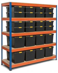 Storalex SX400 Bay - 1980h x 1830w x 610d - 400kg UDL - Blue & Orange - with 8 x 62L & 16x 30L Black DIY Boxes