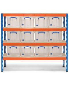 Storalex SX400 Bay - 1677h x 1830w x 455d - 400kg UDL - Blue & Orange - with 12 x 35L Clear Really Useful Boxes