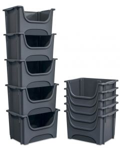 Pack of 5 Large Stacking Pick Bins - 50 Litre - Grey