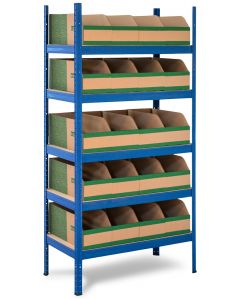 Heavy Duty Storalex VRS Shelving Bay - Ocean Blue - With K-Bins Parts Bins - Green