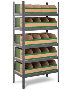 HEAVY DUTY STORALEX VRS SHELVING BAY - GRAPHITE GREY - WITH K-BINS PARTS BINS - GREEN