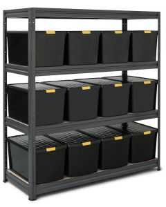 Storalex HRX Shelving Bay with 12x 62L DIY Recycled Plastic Boxes