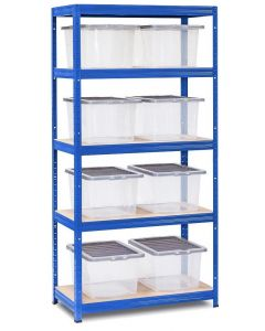 Storalex VRS Shelving - Blue with Clear Wham Plastic Storage Boxes