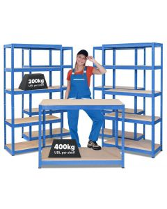 Storalex Business Bundle - 4 x VRS Bays & HRX Workbench - Ocean Blue